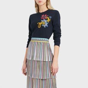 Mary Katrantzou Navy Rummy Appliquéd Knit Sweater